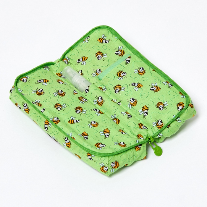 Multi-Purpose-Pouch-Lime-Bees-Open
