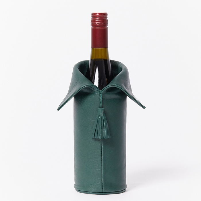 Leather-Wine-Bottle-Cover-Green